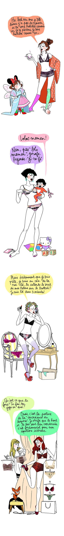 Illustrations de Margaux Motin pour un magazine et ses pages Lingerie. J'adore la première !