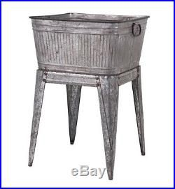 Vintage Ice Chest Cooler Patio Deck Outdoor Tub Stand Galvanized