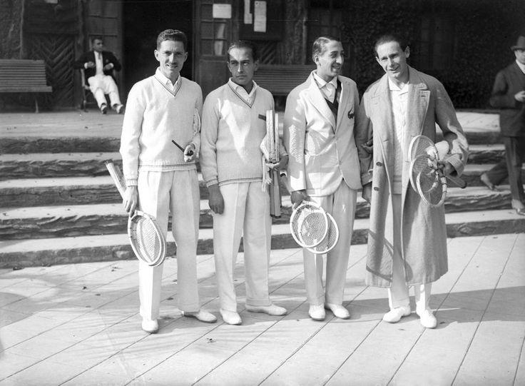 1927 French Davis Cup Team: (left to right) Jacques Brugnon, Henri Cochet, René Lacoste & Jean Borotra