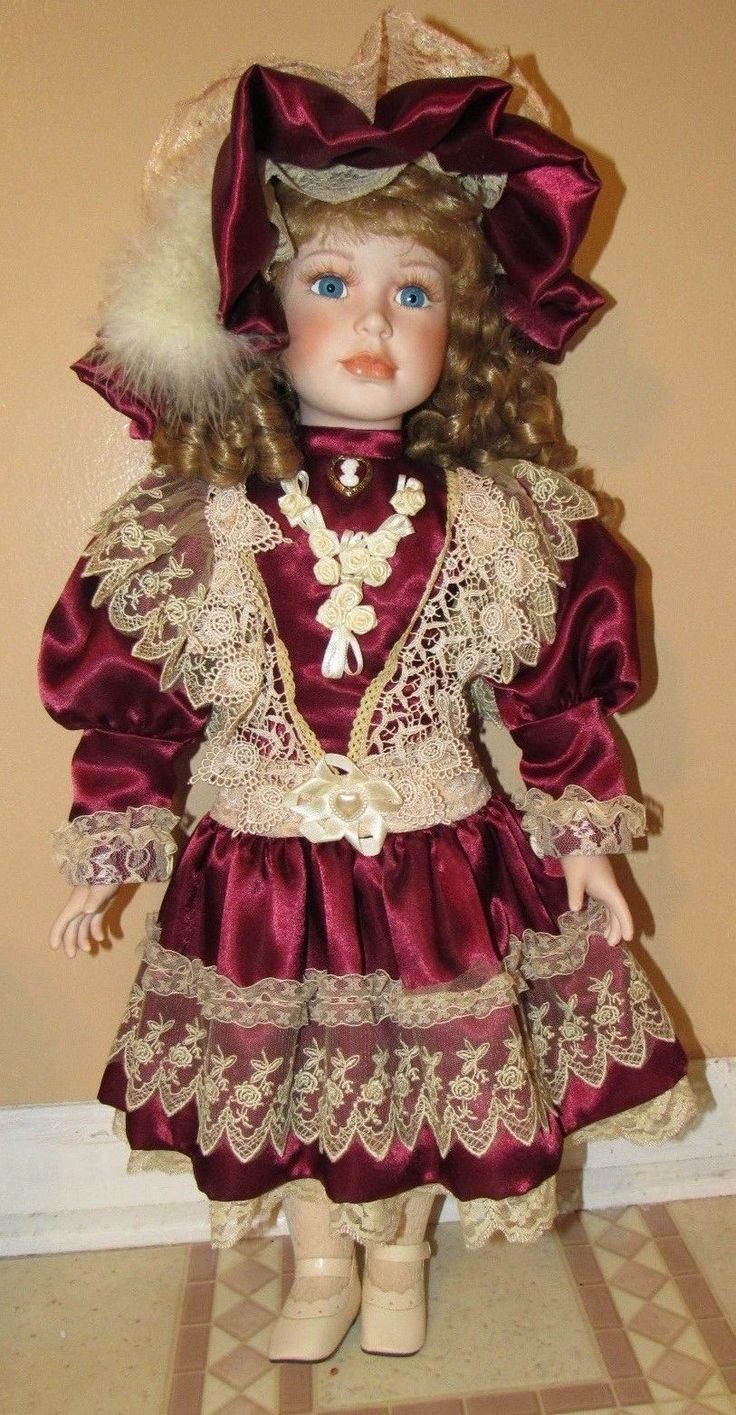 ~Large Beautiful Girl Collector's Porcelain Doll Maroon Dress Blond Hair~   eBay