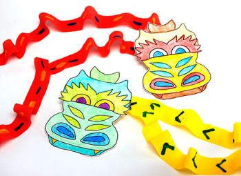 Chinese New Year craft - Dragons on Parade (with link to printable dragon head). . . or could make your own.