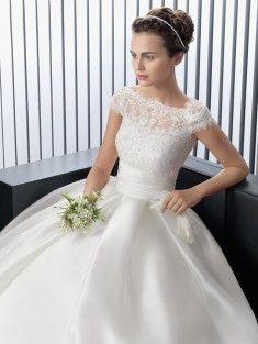 Ball Gown Bateau Floor-Length Satin Short Sleeves Wedding Dress With Applique