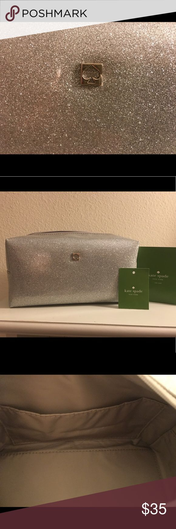 New! Kate Spade New York medium Cosmetic bag. Kate Spade Mavis Street medium Davie make up pouch - cosmetic bag in Silver. kate spade Bags Cosmetic Bags & Cases