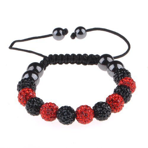 "Top Quality Micro Pave 11 Black/Red Crystal Balls Shamballa Bracelet 10mm/8mm Hunnt. $9.56. Pave Crystal Ball. HQ Nylon Macrame Cord. 7.5"" to 11"" Adjustable Bracelet. 10MM Black and White Crystal Ball"