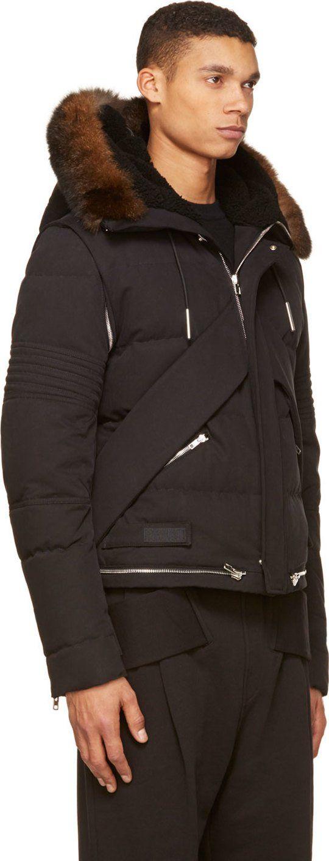 Givenchy Black Convertible Fur Trim Down Puffa Parka