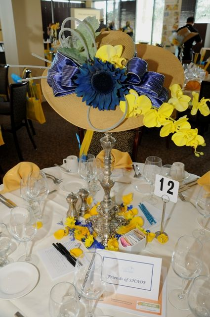 centerpieces using hats | Lovely table setting with a uniquely decorated straw hat as the ...
