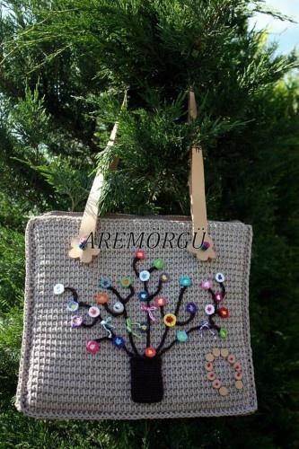 Dilek Ağacı Süslü Deri Saplı Örgü El Yapımı Çanta | Hepsi Ev Yapımı