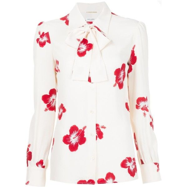 Saint Laurent Hibiscus Floral Neck Tie Blouse (£1,400) ❤ liked on Polyvore featuring tops, blouses, all tops, kirna zabete, necktie blouse, white blouse, white tie neck blouse, floral blouse and collar blouse