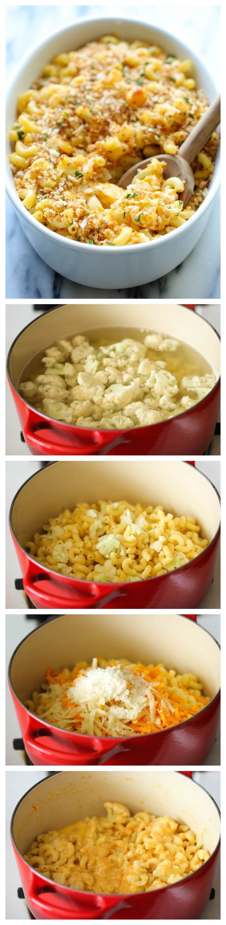 "Skinny Cauliflower Mac and Cheese by damndelicious"" A lightened-up mac and cheese that you can eat guilt-free. #Pasta #Cauliflower #Mac_Cheese"