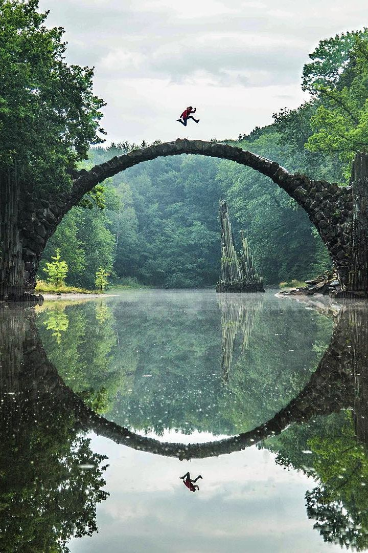 Rakotzbrücke (the Devil's Bridge), Kromlau, Germany. ♡