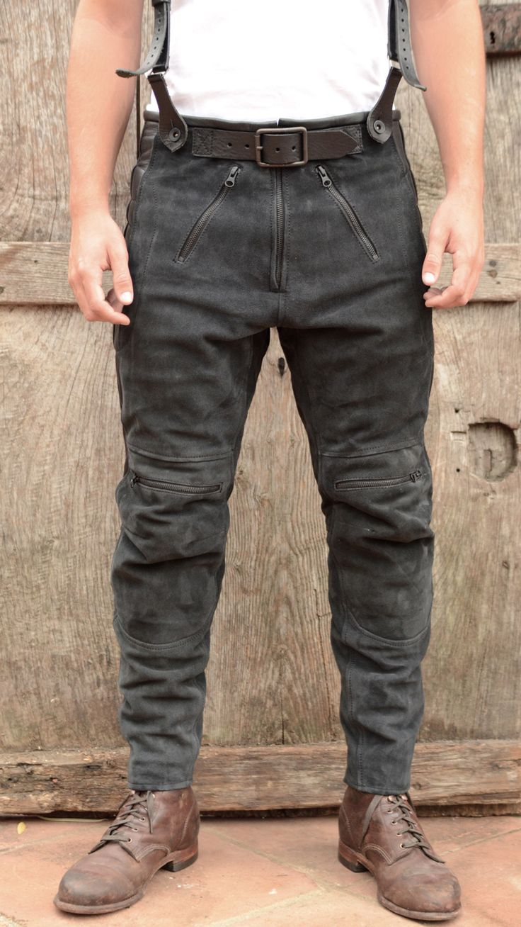 Duke men s strong buckle jeans cargo amp trouser rawhide leather belt - Rascal Leather Motorcycle Pants By El Solitario