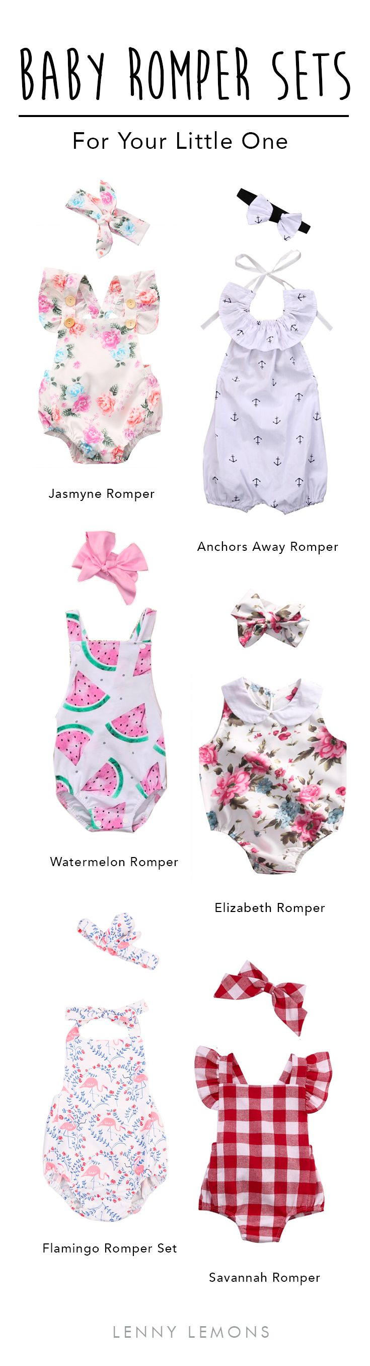 UP TO 70% OFF + FREE SHIPPING. Perfect summer sunshine outfits for your baby girl. Choose the right romper for her. Choose between watermelon, anchors and flowers. Summer outfits for baby girl. Lenny Lemons, baby and toddler apparel.