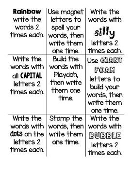 25 best spelling images on pinterest spelling activities for Tic tac toe homework template