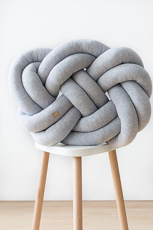 dodatki - poduszki, poszewki-Supeł Pillow jasny szary melanż