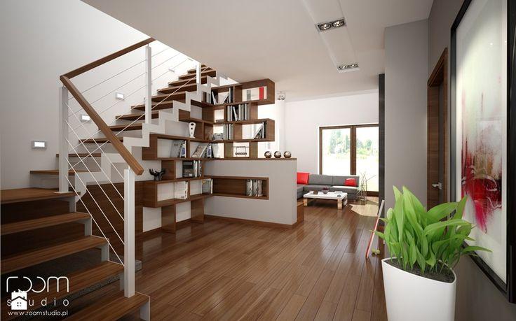 Dom w czerwieni, Ślęza, okolice Wrocławia - Średnie schody - zdjęcie od ROOM STUDIO