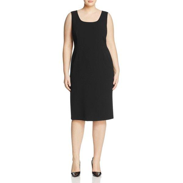 Marina Rinaldi Decisivo Sheath Dress ($595) ❤ liked on Polyvore featuring dresses, black, sheath dresses, tailored dresses and marina rinaldi
