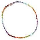 118-248 - NYC II 22.00ctw Exotic Rainbow Multi Gemstone Tennis Necklace