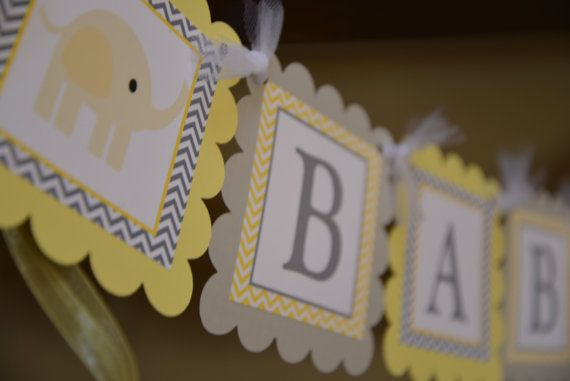 Elephant Baby Shower banner Baby Shower by sweetshoppepaperie