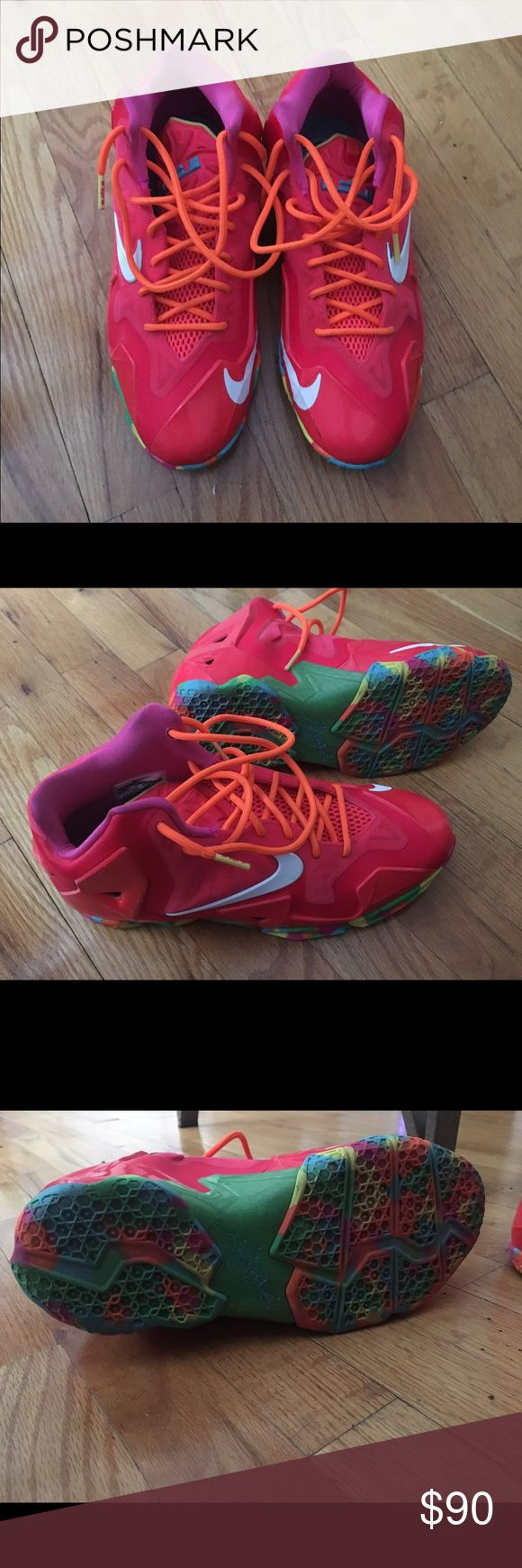 Lebron Fruity Pebbles size 7 Youth Lightly worn. Great condition. Small mark on left shoe ( pictured in last photo ) missing inner sole. PRICE NEGOTIABLE. Please make an offer Nike Shoes Sneakers