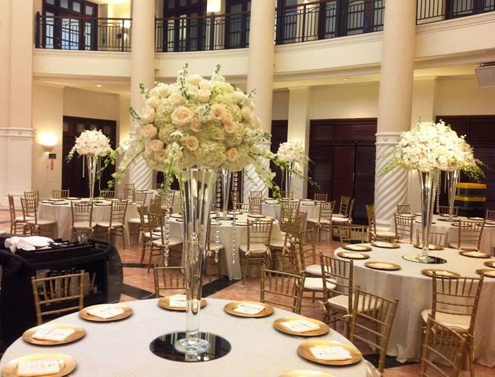 X Large Trumpet Vase White Hydrangeas Ivory Roses