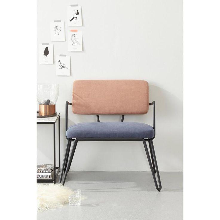 whkmp's own fauteuil Anna, Blauw, zalm
