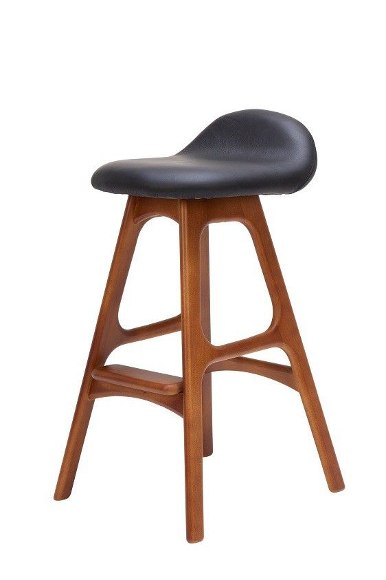 Replica Erik Buch Bar Stool 66cm in Black Leather and Walnut -- This sleek and elegant replica Erik Buch bar stool is sure to be voted the most comfortable seat in the house.  With slender moulded beech wood legs in a walnut stain, this expertly crafted Danish style bar stool will add a touch of sophistication to your home.  The seat features a raised lip at the back of the seat, and contains a generous soft foam.   The upholstery is fine Italian leather in black.  The Erik Buch bar stool…