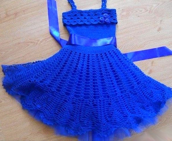 Vestido Azul En Crochet Para Niñas Patrones Vestidos