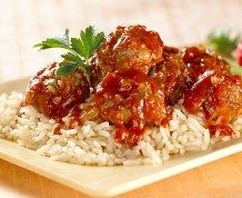 Tangy Holiday Meatballs from Rice Krispies.