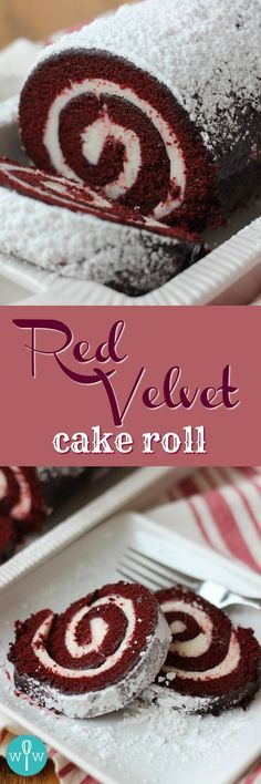 Red Velvet Cake Roll - A moist, spongy red velvet cake coated in powdered sugar and rolled up around a smooth and creamy cream cheese filling. | www.worthwhisking.com