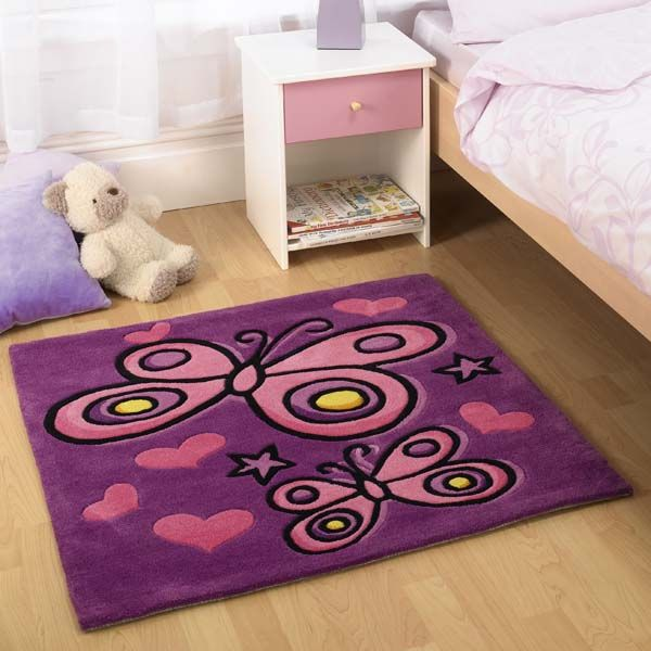 Butterfly purple childrens rugs buy online from the rug seller uk