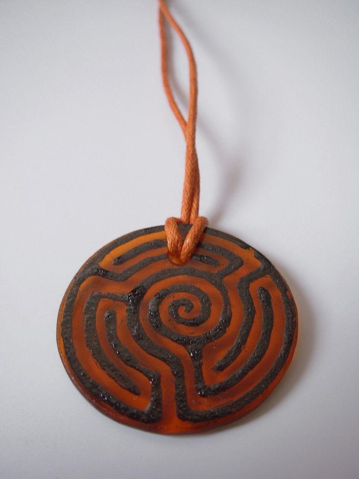 "The glass pendant ""Orange labyrinth"""