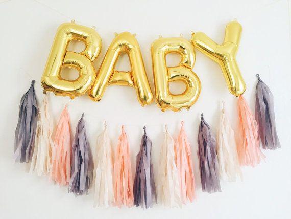 BABY balloons gold mylar foil letter balloon tassel garland