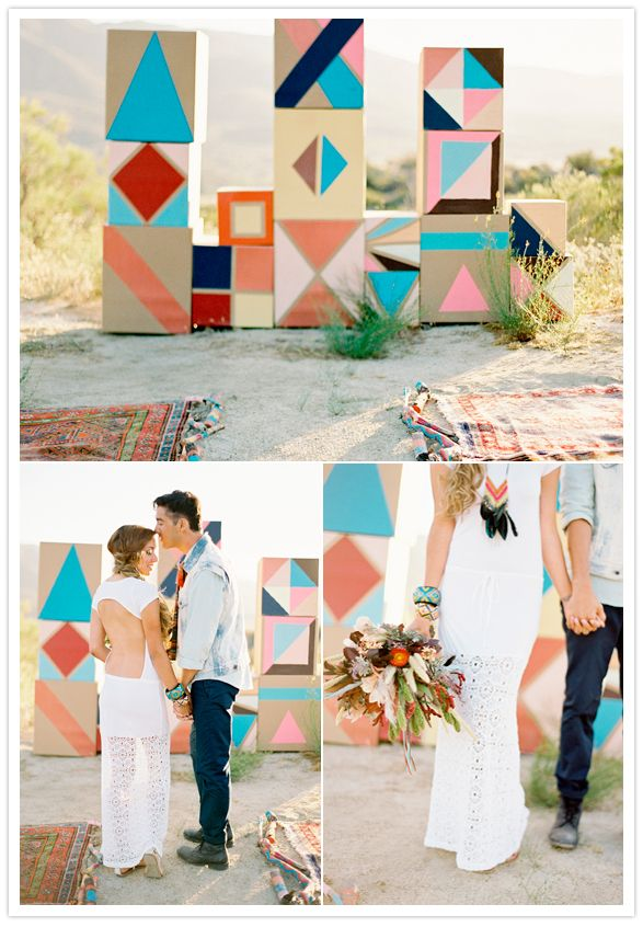 Geometric wedding alter backdrop and southwestern patterned rugs...now this is what we call unique! From http://100layercake.com/blog/2012/10/17/southwestern-meets-art-deco-americana-wedding-inspiration/  Photo Credit: http://josevillaphoto.com  Concept Production: http://casadeperrin.com/