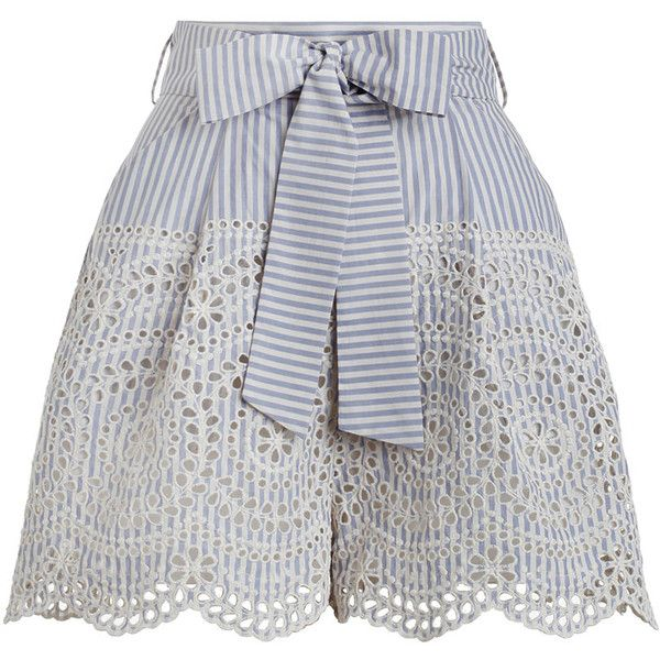 ZIMMERMANN Meridian Stripe Shorts (675 TND) ❤ liked on Polyvore featuring shorts, bottoms, pants, short, zimmermann, swimming shorts, striped shorts, high rise shorts, high-waisted shorts and blue high waisted shorts