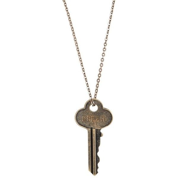 The Giving Keys 27-Inch Chain Key Pendant Necklace ($39) ❤ liked on Polyvore featuring jewelry, necklaces, oxidized brass, pendants & necklaces, brass pendant necklace, pendant chain necklace, brass chain necklace and chain jewelry