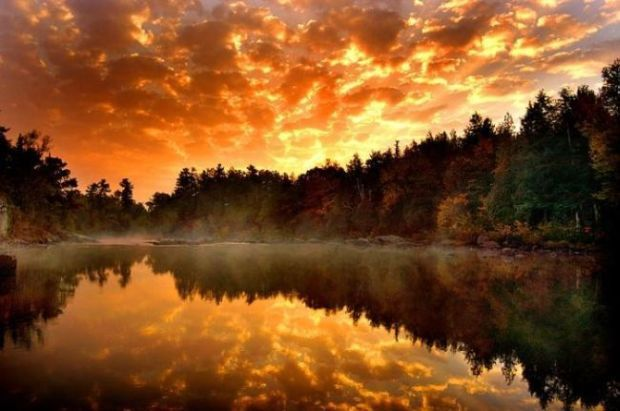 sunset reflection: Orange, Mountain, Color, Beautiful, Lakes, Trees, Wallpapers, Sunsets Pictures, Natural