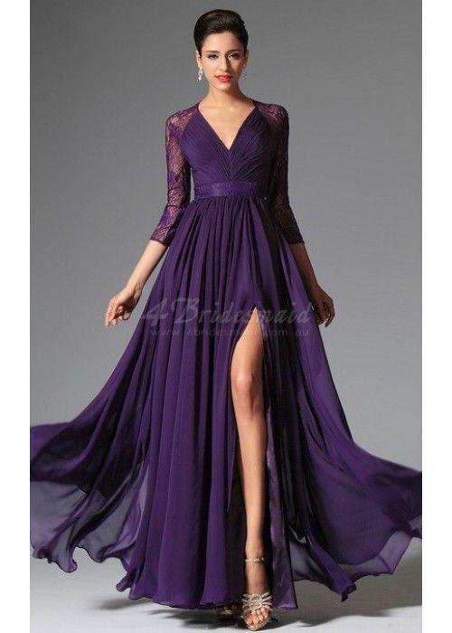Purple V-Neck Long Chiffon and Lace Bridesmaid Dress with Split Front-JT1319 Kommer og i lilac og kan spesialordres