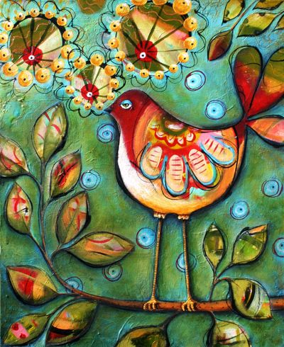 Sitting Pretty Little Birdy by Karla Dornacher. This has a nice step-by-step tutorial that goes with it. I enjoyed reading about her process.
