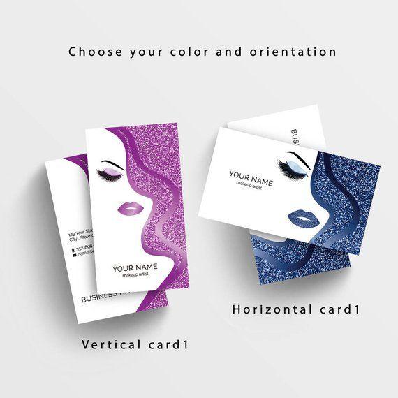 Glittery Woman Business Card Makeup Artist Business Card Lashes Busineass Card Bea Salon Business Cards Beauty Salon Business Cards Business Cards Beauty