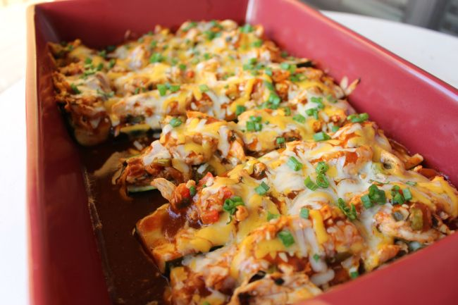 Chicken Enchilada Stuffed Zucchini Boats Recipe — Dishmaps