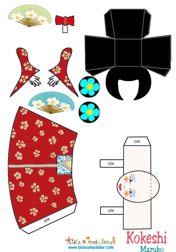 Kokeshi doll paper craft