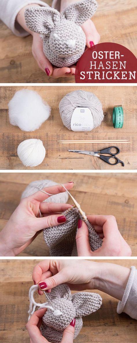 DIY-Anleitung: Osterhase stricken, Osterdeko / diy tutorial: how to knit an easter bunny via http://DaWanda.com