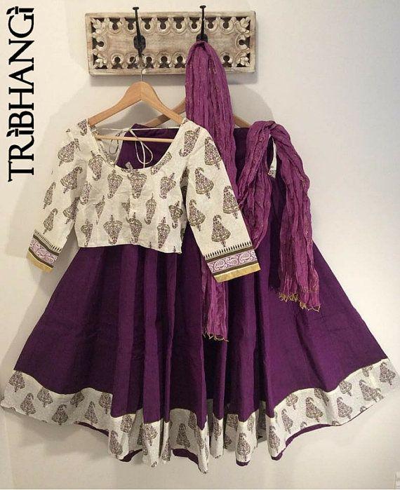 Pushkar Purple Jaipur block print cotton gopi skirt_Tribhangi_Etsy