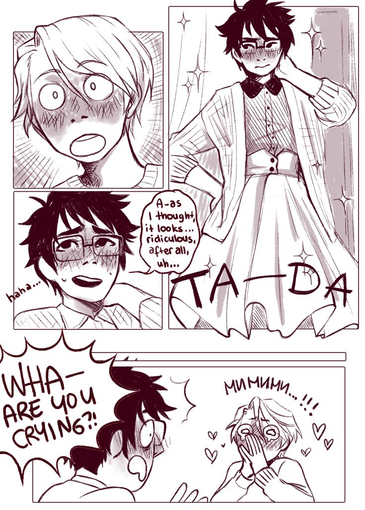 It's very hard to find the confidence to stop worrying about gender, especially when you worry as much as Yuuri does; but, where there's a desire, there's a way, and a supportive boyfriend crying by...