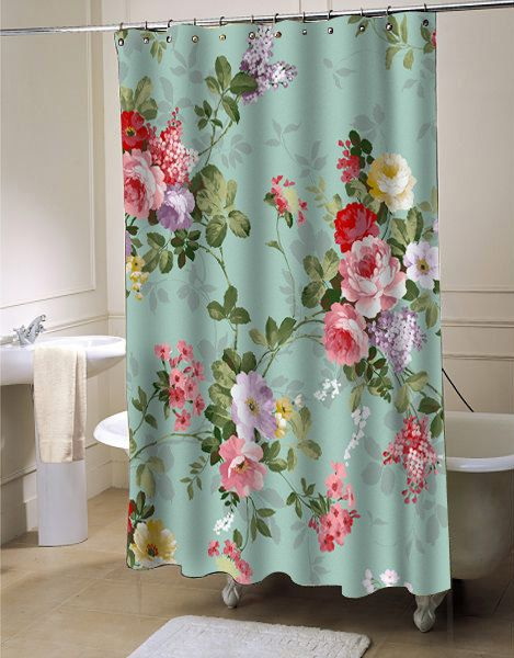 Vintage Flower Shower Curtain By Flowerscurtain On Etsy