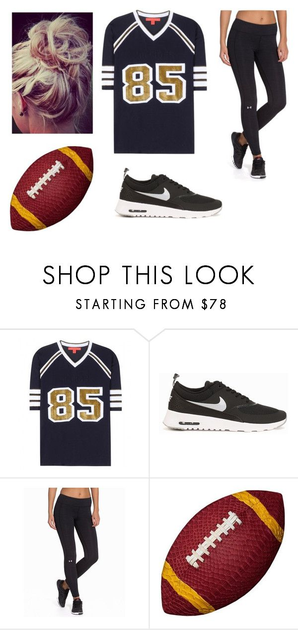 """""""Halloween American Football Costume"""" by nikkikikki11 ❤ liked on Polyvore featuring Tommy Hilfiger, NIKE, Under Armour, Elisabeth Weinstock, women's clothing, women, female, woman, misses and juniors"""