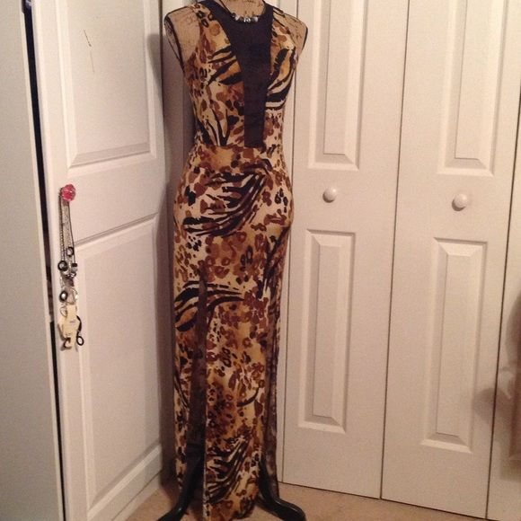 Sexy Brown Camo Dress NWOT Brown Camo Dress w/2 Splits and Black Netting.....68% Polyester 29% Rayon 3% Spandex Dresses