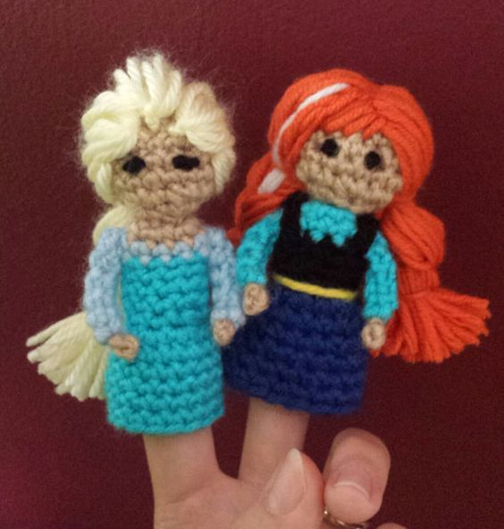 Frozen Crochet Finger Puppet Patterns Anna by TinyButMightyHearts