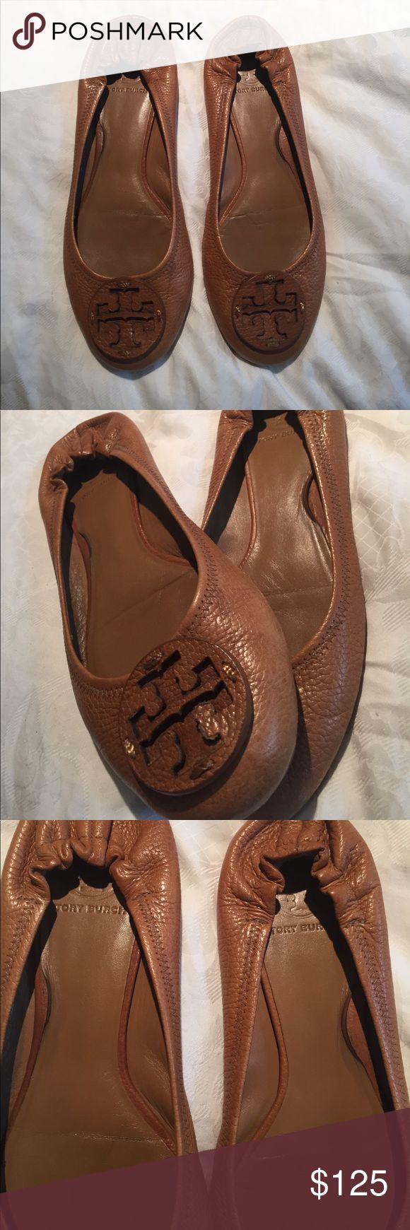 Tory Burch Tan Flats - Size 10/10.5 Tory Burch Tan Flats - soles are slightly worn, but these shoes are in great condition! Tory Burch Shoes Flats & Loafers