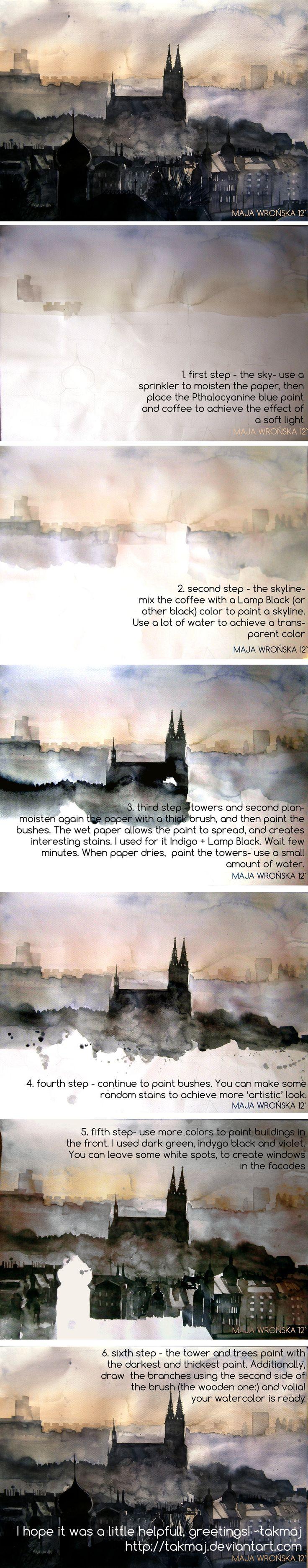 Watercolor tutorial by takmaj.deviantart.com on @deviantART
